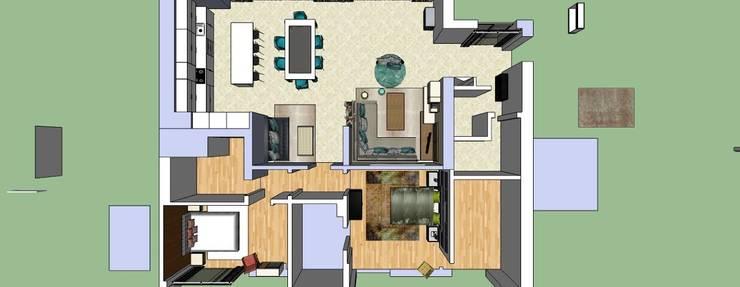 Apartamento planta 3D:   por Atelier  Ana Leonor Rocha