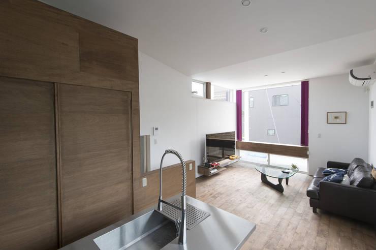 五十嵐の家03/高低差のある家: 加藤淳一級建築士事務所が手掛けたリビングです。