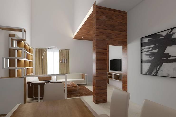 Duplex Interiors:  Living room by SunDial Associates