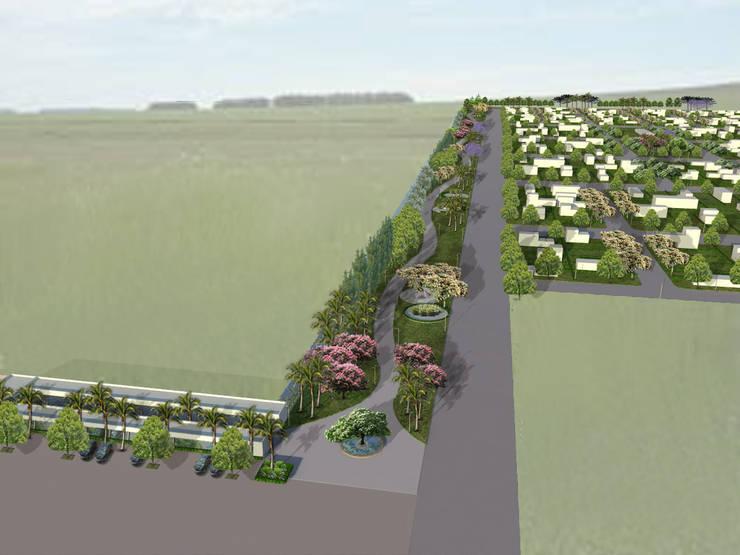 Proyecto de Forestacion Barrio Cerrado y centro comercial: Jardines de estilo  por BAIRES GREEN