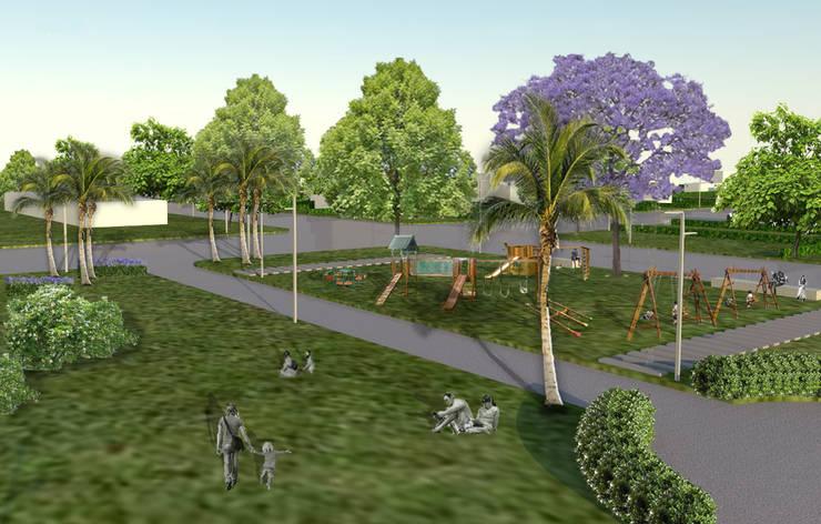 plazas. juegos para niños: Jardines de estilo  por BAIRES GREEN