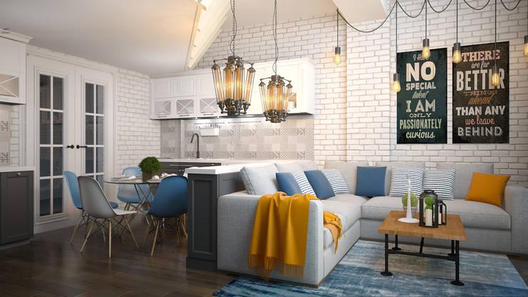 Гостиная в стиле лофт: Гостиная в . Автор – VITTA-GROUP