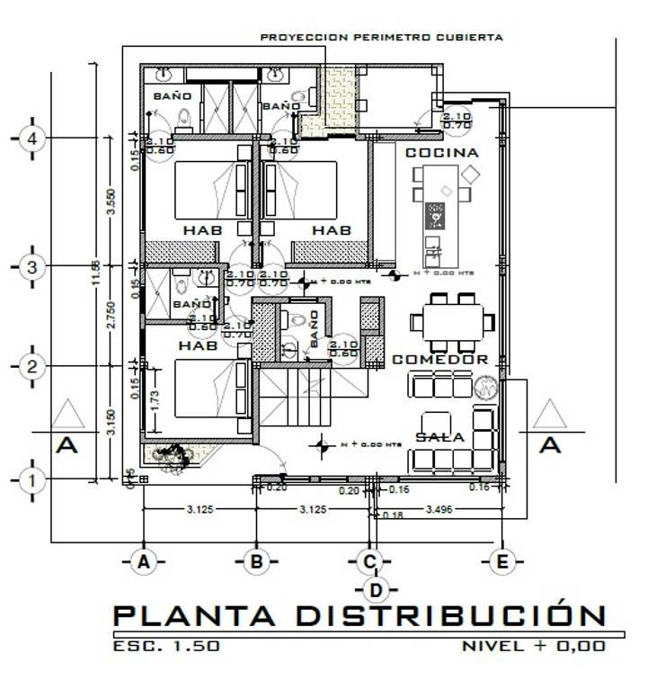 Casa LOBO: Comedores de estilo  por Arquitecto Eduardo Carrasquero