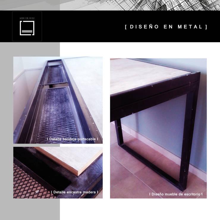 Detalle mobiliario escritorio:  de estilo  por [  U N O   E N   D I E Z  ]