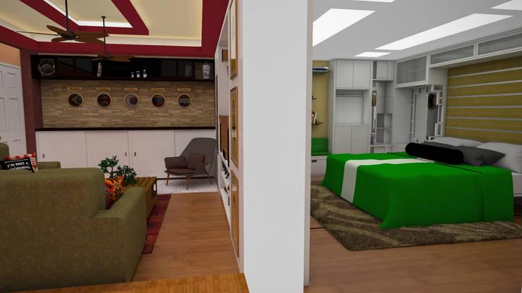 Diseño de Apartamento pequeño con elementos multifincionales: Cuartos de estilo moderno por Rbritointeriorismo