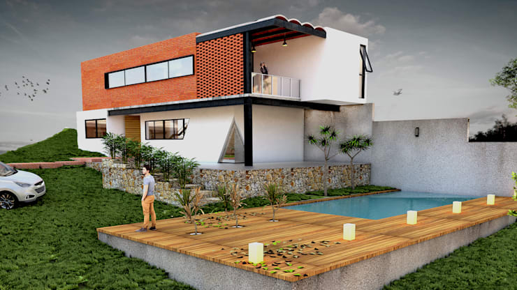 Perspectiva exterior: Casas de estilo  por Vintark arquitectura