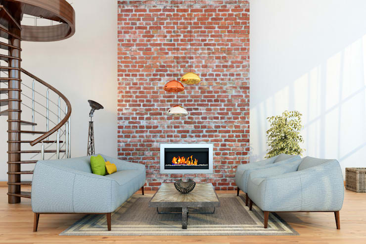 Exposed Brick With Copper Highlights: modern Living room by Gracious Luxury Interiors