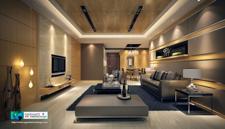 asian Living room by Axis Group Of Interior Design