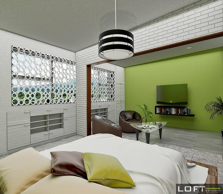 Recámara Principal: Recámaras de estilo  por LOFT ESTUDIO arquitectura y diseño
