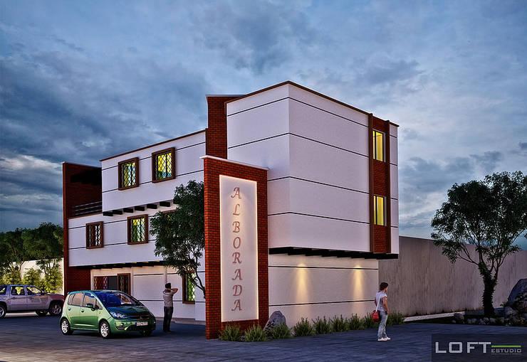 Fachada: Casas de estilo ecléctico por LOFT ESTUDIO arquitectura y diseño