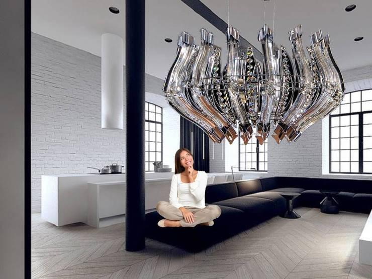 Iluminación central el punto focal: Salas/Recibidores de estilo  por Goldencris