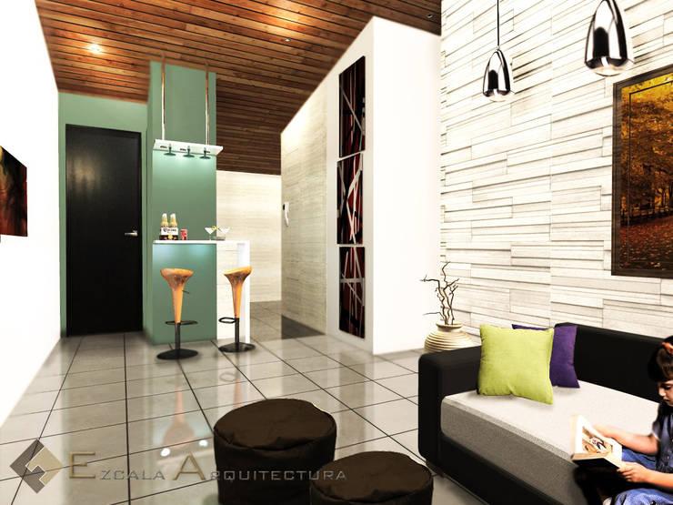 Sala-Bar: Salas de estilo  por EZCALA ARQUITECTURA