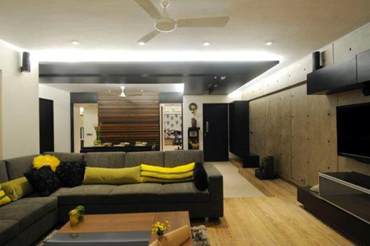 2BHK renovated :  Living room by ShreeJi Interior