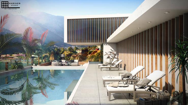 Casa en playa :  de estilo  por MARINES STUDIO
