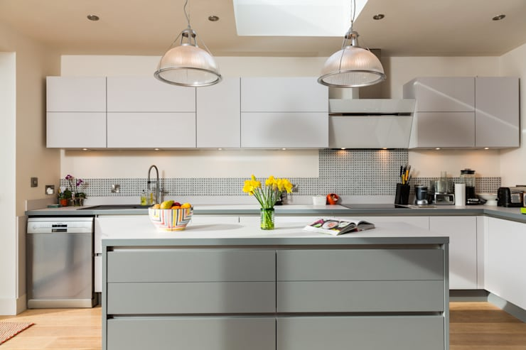Nobilia 20mm Laser laminate door in Satin and Mineral Grey:  Kitchen by Eco German Kitchens