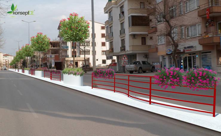 konseptDE Peyzaj Fidancılık Tic. Ltd. Şti. – Yalova Belediyesi Şehit Ömer Faydalı Caddesi Peyzaj Projesi:  tarz Bahçe, Modern Metal