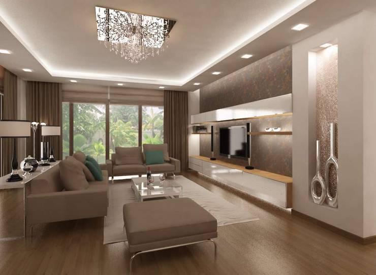 VERO CONCEPT MİMARLIK – İpek Gürel Villa:  tarz Oturma Odası
