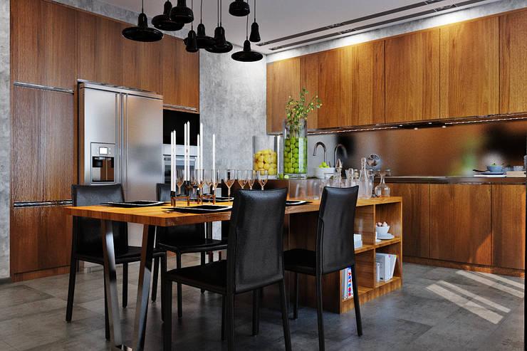 Кухня по-мужски: минимализм и функционал на 1 месте: Кухни в . Автор – Студия дизайна Interior Design IDEAS