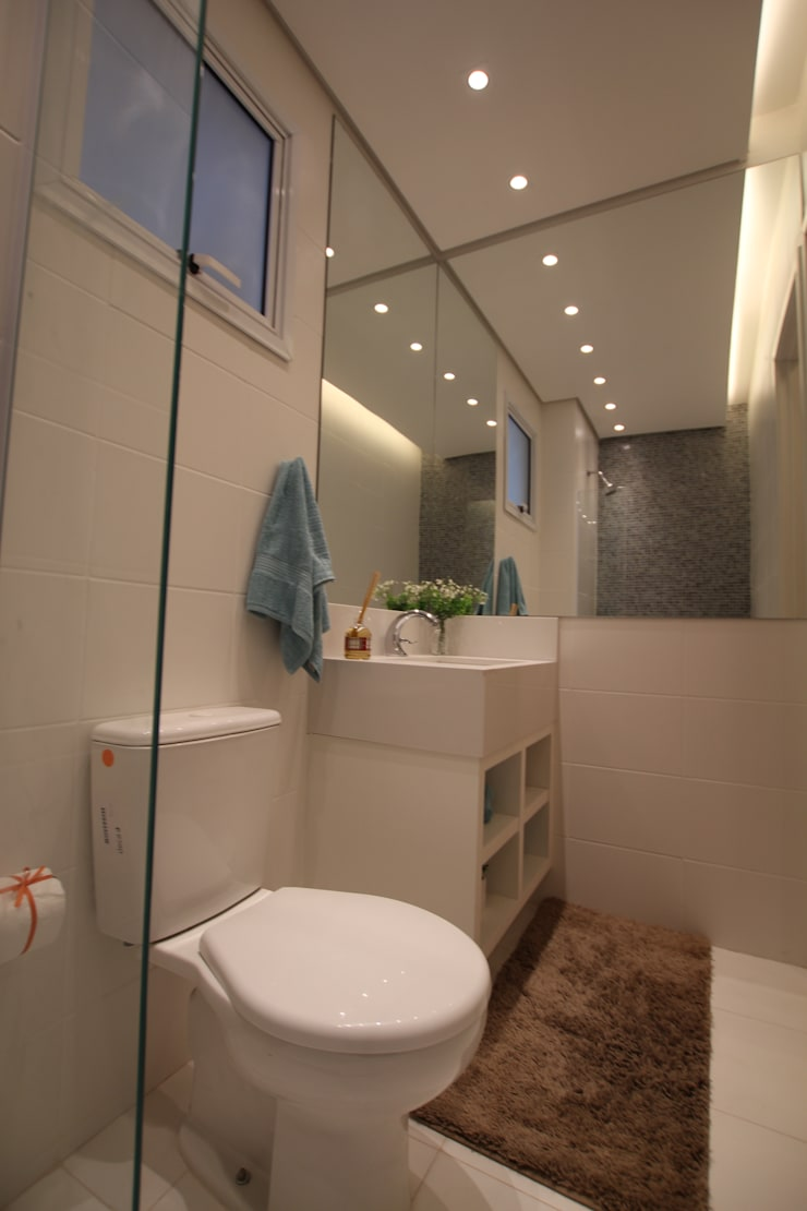 モダンスタイルの お風呂 の Pricila Dalzochio Arquitetura e Interiores モダン