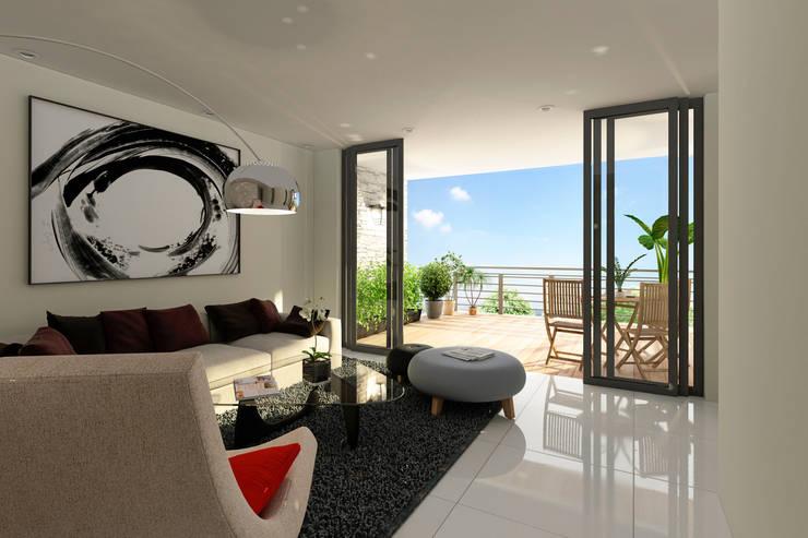 Salón y Terraza: Salas de estilo  por Citlali Villarreal Interiorismo & Diseño