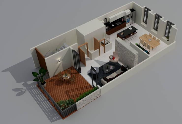Planta Alta: Terrazas de estilo  por Citlali Villarreal Interiorismo & Diseño