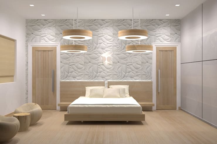 VILLA AT THIRUVANMALAI:  Bedroom by De Panache  - Interior Architects