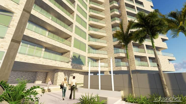 Conjunto de Apartamentos <q>Puerto Plata</q>: Terrazas de estilo  por Grupo JOV Arquitectos