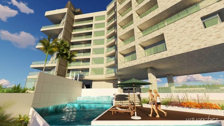 Conjunto de Apartamentos <q>Puerto Plata</q>: Piscinas de estilo  por Grupo JOV Arquitectos