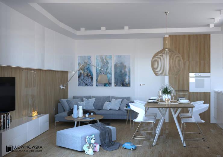 BLIŻEJ NIEBA: styl , w kategorii Salon zaprojektowany przez Ludwinowska Studio Architektury