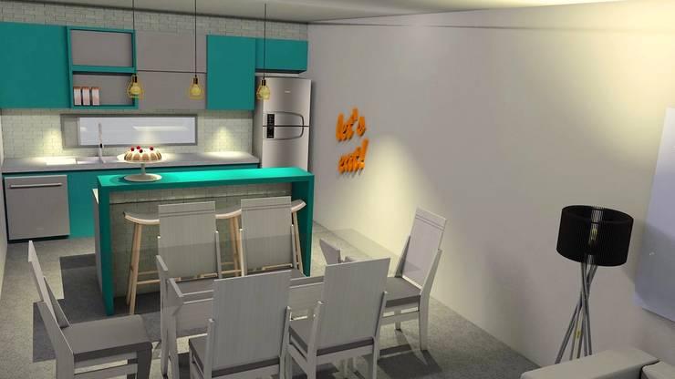 Cozinha/sala:   por Maria Eduarda Reis Interiores