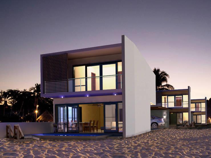 FACHADA PRINCIPAL: Casas de estilo  por MUTAR Arquitectura