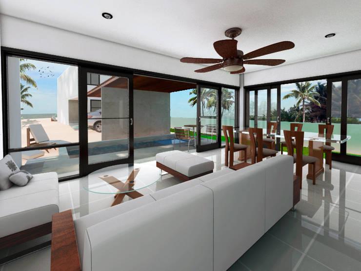 SALA / COMEDOR: Salas de estilo  por MUTAR Arquitectura