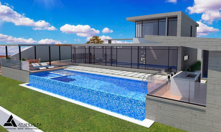 Render Vista Lateral - Terraza: Casas de estilo  por Atahualpa 3D