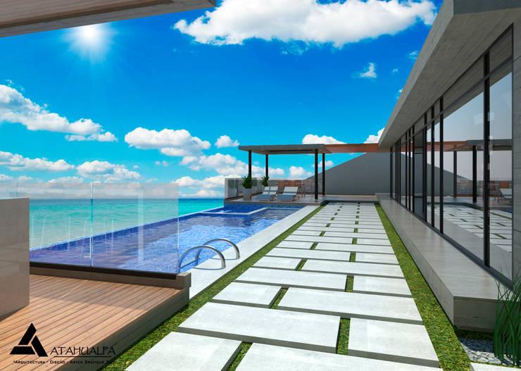 Render Vista Terraza: Piscinas de estilo  por Atahualpa 3D