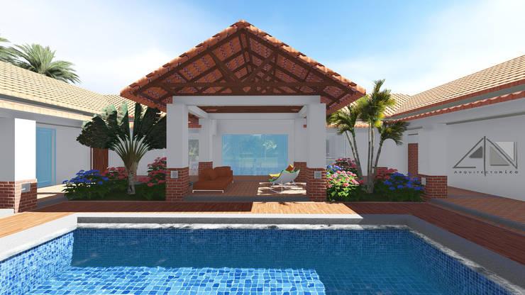 """Casa RG - piscina, sala exterior, jardines.:  de estilo {:asian=>""""asiático"""", :classic=>""""clásico"""", :colonial=>""""colonial"""", :country=>""""rural"""", :eclectic=>""""ecléctico"""", :industrial=>""""industrial"""", :mediterranean=>""""Mediterráneo"""", :minimalist=>""""minimalista"""", :modern=>""""moderno"""", :rustic=>""""rústico"""", :scandinavian=>""""escandinavo"""", :tropical=>""""tropical""""} por ARQUITECTOnico,"""