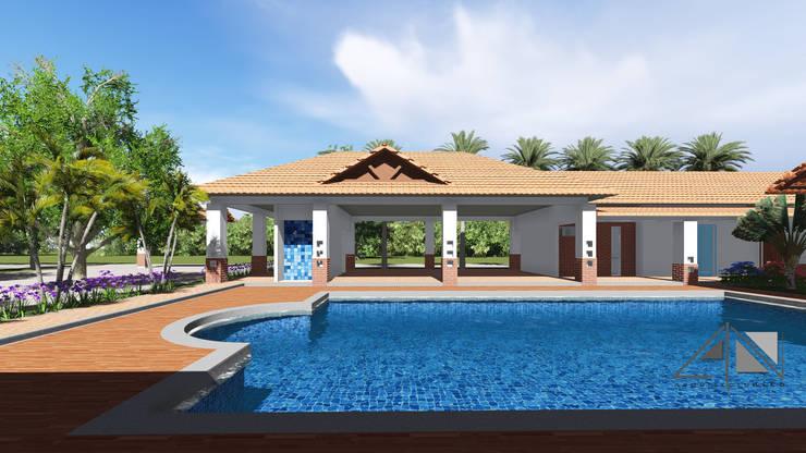Casa RG - piscina, salon de eventos, vestir y baños.:  de estilo  por ARQUITECTOnico