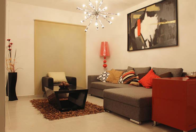 Diseño interior Sala de Constructora Asvial S.A de C.V. Moderno Textil Ámbar/Dorado