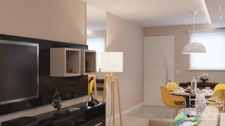 apartamento pequeno, sala, cores, mesa redonda, cadeiras Eiffel: Salas de estar  por Lúcia Vale Interiores