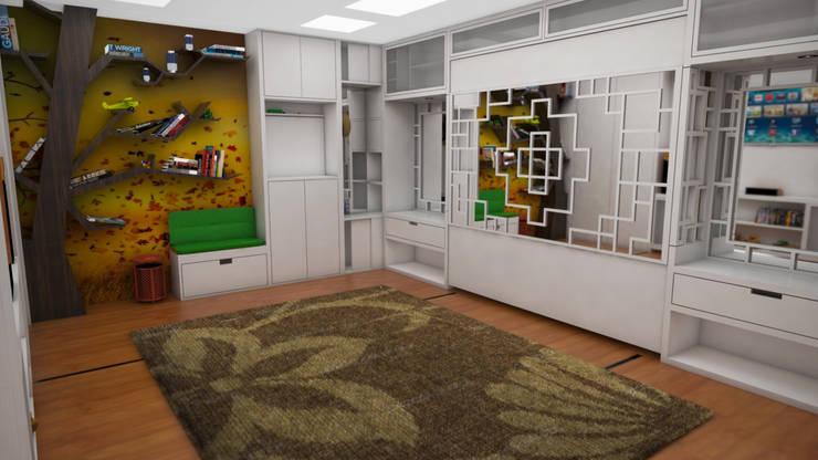 Apartamento pequeño con espacios multifuncionales y/o convertibles: Cuartos de estilo  por Rbritointeriorismo