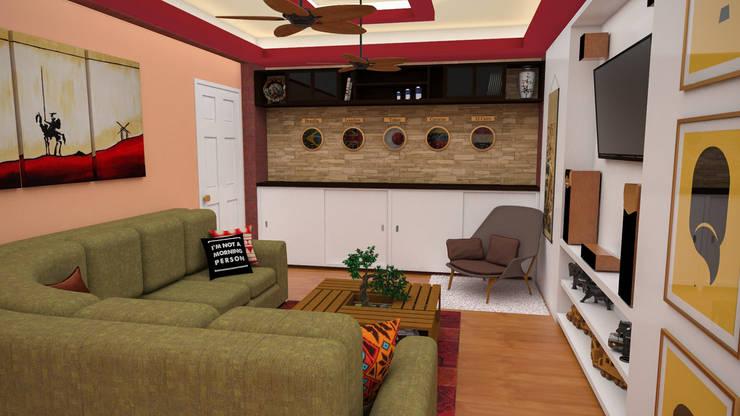 Apartamento pequeño con espacios multifuncionales y/o convertibles: Salas / recibidores de estilo  por Rbritointeriorismo
