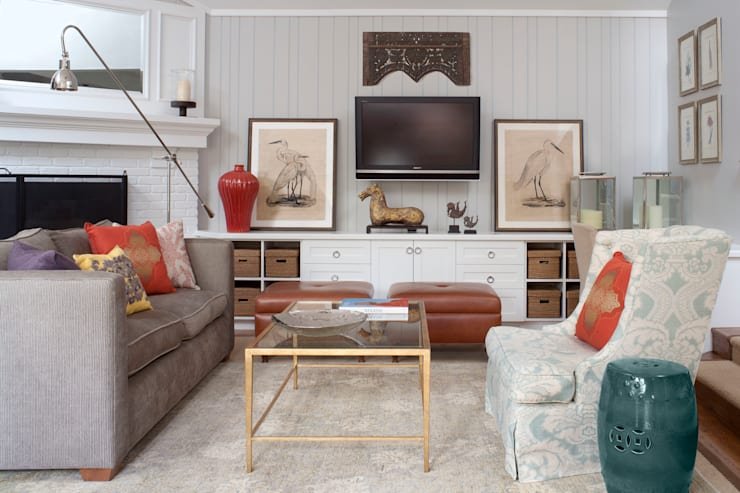 Denver Country Club Home:  Media room by Andrea Schumacher Interiors