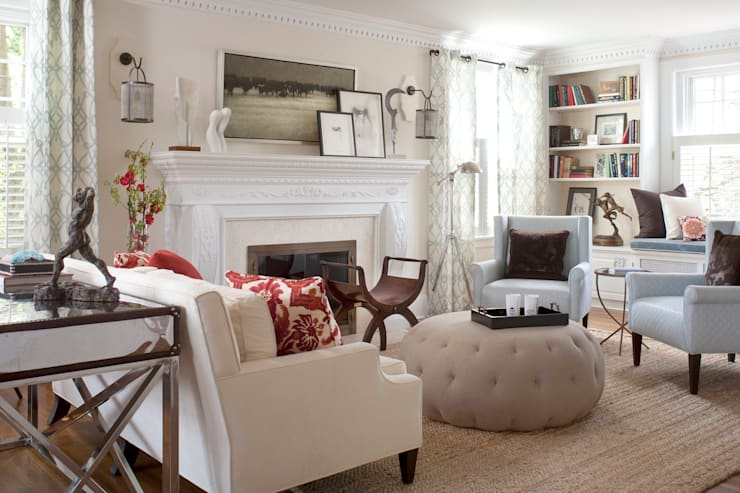 Denver Country Club Home:  Living room by Andrea Schumacher Interiors