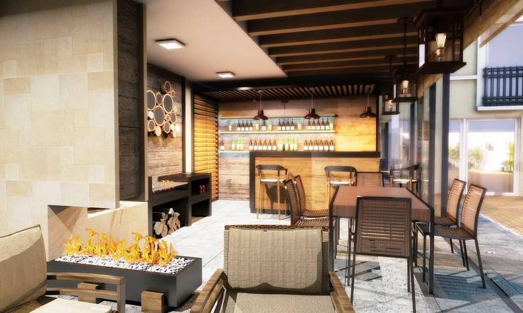BAR- TERRAZA: Balcones y terrazas de estilo  por PROYECTARQ | ARQUITECTOS
