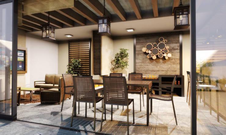 COMEDOR - TERRAZA: Balcones y terrazas de estilo  por PROYECTARQ | ARQUITECTOS
