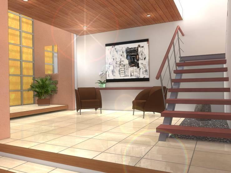 RECEPCION-ESCALERA CASA MP: Pasillos y recibidores de estilo  por AD+d