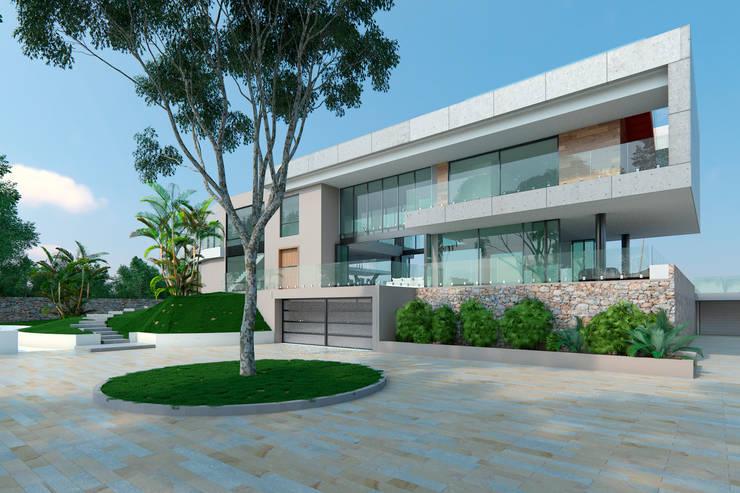 Fachada de acceso: Casas de estilo  por Area5 arquitectura SAS, Moderno Concreto