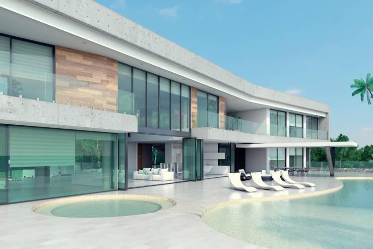 Fachada principal: Casas de estilo  por Area5 arquitectura SAS, Moderno Concreto