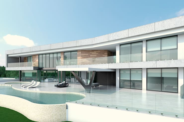 Fachada principal. Zona habitaciones: Casas de estilo  por Area5 arquitectura SAS, Moderno Concreto