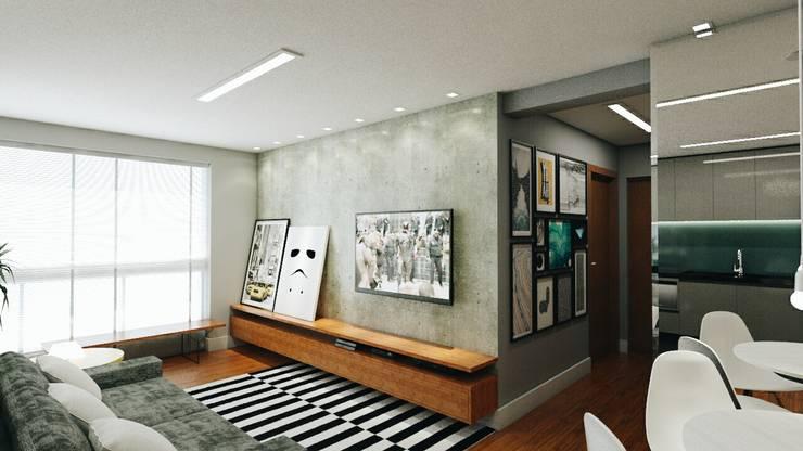 Salas / recibidores de estilo industrial por 285 arquitetura e urbanismo
