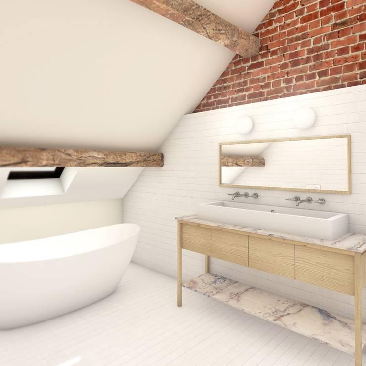 Woonboerderij Weert:  Badkamer door De Nieuwe Context, Industrieel